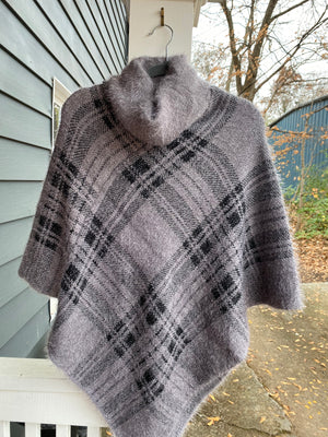 Soft Turtle Neck Grey Plaid Poncho