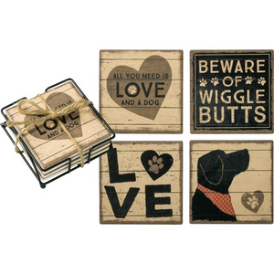 Coaster set- All You Need Is Love and a Dog