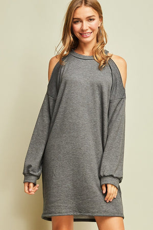 Cold Shoulder Sweatshirt Dress