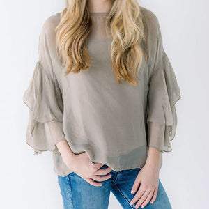 Charlotte Top - Grey, Taupe