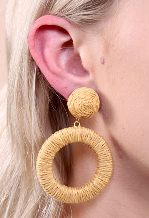 Straw Wrapped Hoop Earring