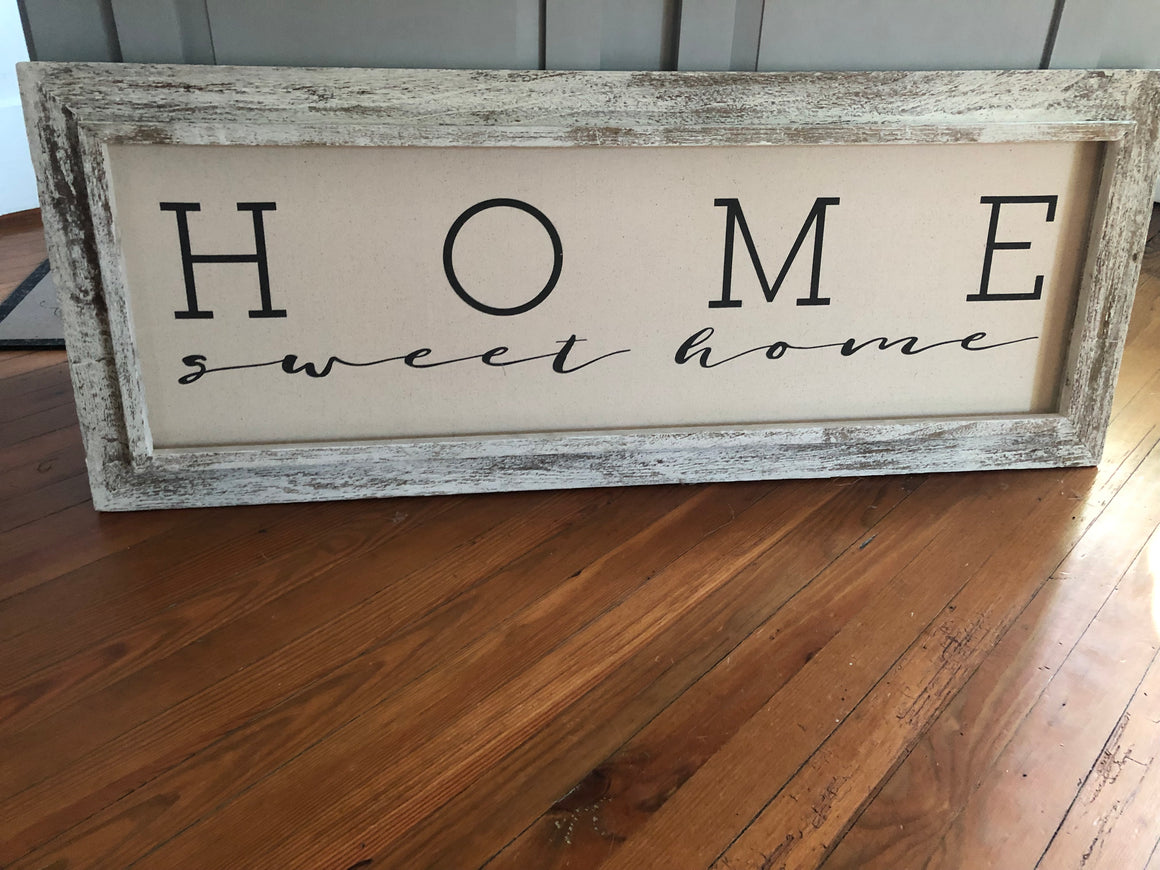 "Old Farmhouse Frame with ""Home Sweet Home"" sentiment"