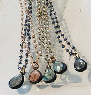 Crystal Beaded Necklace with Crystal Teardrop, 20""