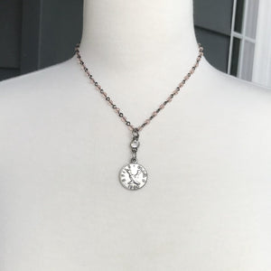 Crystal Beaded Coin Charm Necklaces