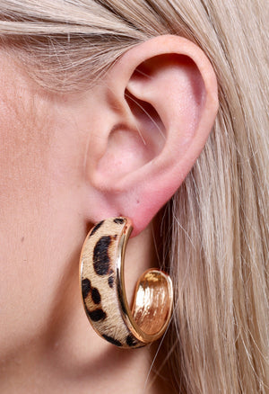 Animal Print Hoop Earrings