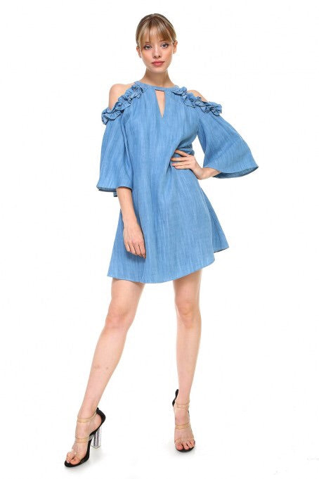 Lightweight denim cold shoulder dress
