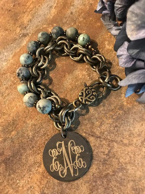 Gold Chain Turquoise Beaded Engraved Monogram Bracelet