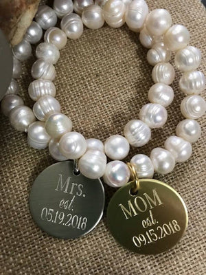 Bracelet, Pearls, Stretch, brass, silver, gold, monogrammed, engraved