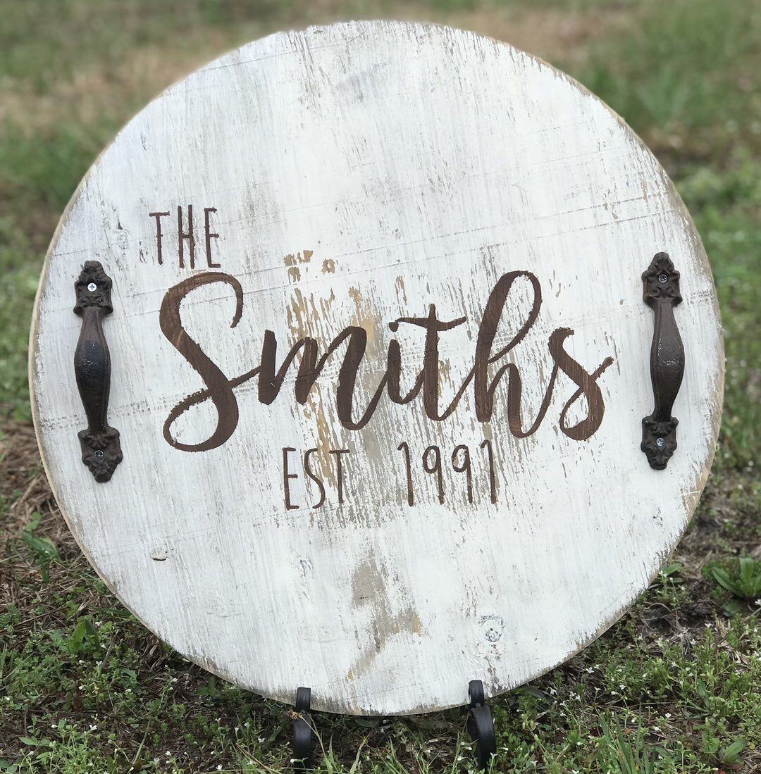 Large Round Wooden Serving Tray - can be personalized