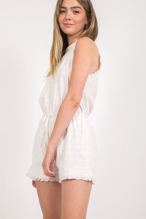 White Cotton Romper with Fray Details