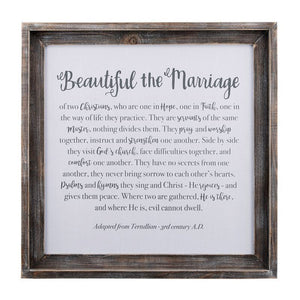"Beautiful The Marriage Framed Fabric Board, 24""x24"""