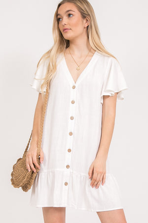 White Button Front Dress with Fluttery Short Sleeves