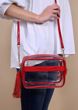 Carissa Clear Snake Crossbody Red Bag