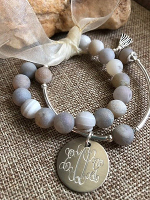 Silver Bar Set Engraved Monogram Bracelet