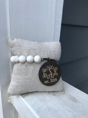 White Turquoise Tube Engraved Monogram Bracelet