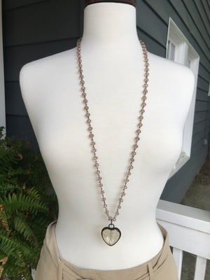 Crystal Beaded Heart Necklace, handmade - 40""