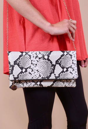Shelby Fold-over Clutch, Black and White Snakeskin
