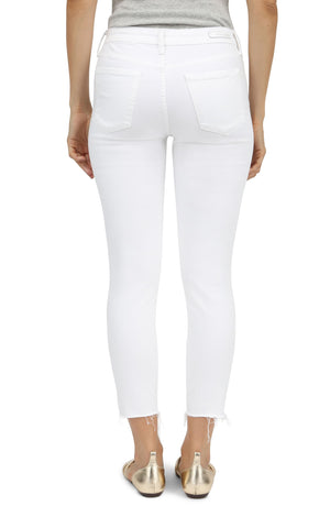 """Sarah"" White, Ankle Length Jean with Frayed Hem"