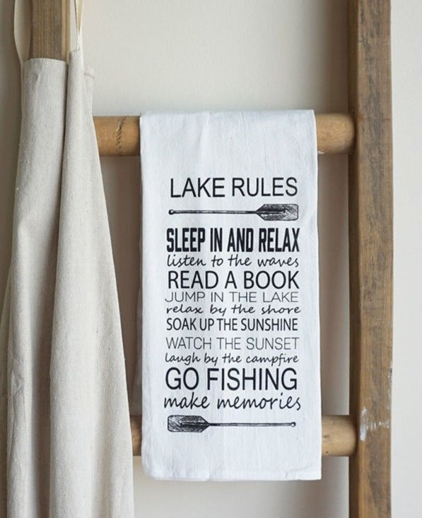 Cotton Tea Towel- Lake Rules