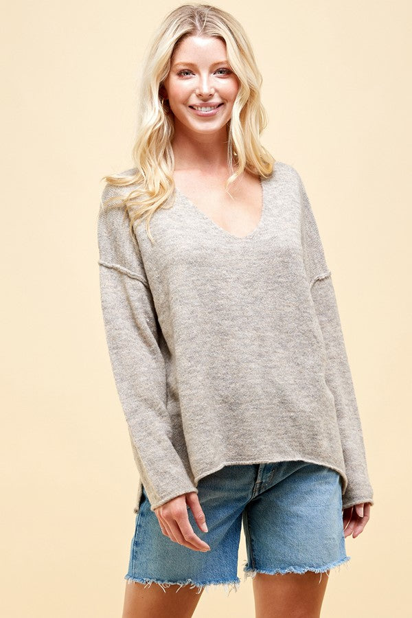 Soft V Neck Knit Sweater