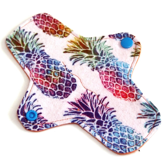 7 inch Reusable Cloth winged ULTRATHIN Pantyliner - Rainbow Pineapple Cotton Flannel Fabric