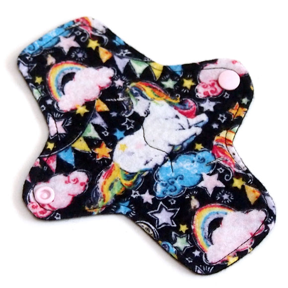 7 inch Reusable Cloth winged ULTRATHIN Pantyliner - Starry Unicorns flannel top