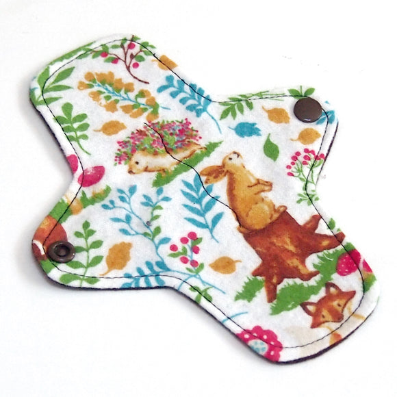 7 inch Reusable Cloth winged ULTRATHIN Pantyliner - Retro Forest Cotton Flannel Fabric