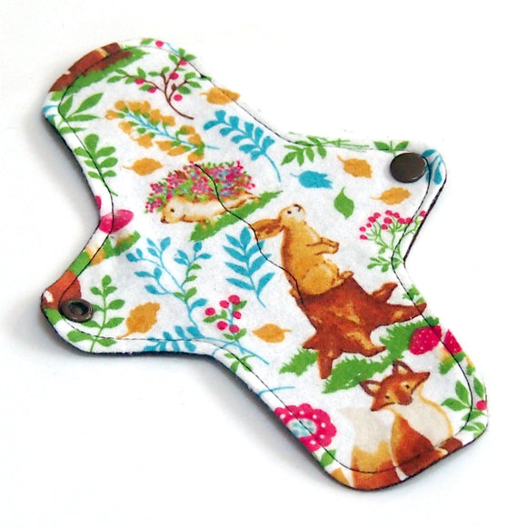 8 inch Reusable Cloth winged ULTRATHIN Pantyliner - Retro Forest Cotton Flannel Fabric