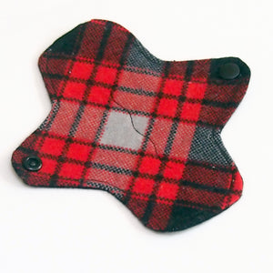 6 inch Reusable Cloth winged ULTRATHIN Pantyliner - Cotton Flannel Fabric - Lumberjack Plaid
