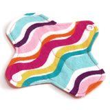 6 inch Reusable Cloth winged ULTRATHIN Pantyliner - Cotton Flannel Fabric - Tropical Stripes