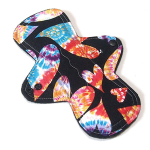 "9"" Moderate Flow Cloth Menstrual Pad -  Windpro  - Quilter's Cotton - Tie Dye Hearts"