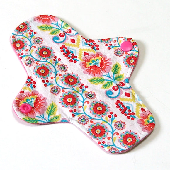 7 inch Reusable Cloth winged ULTRATHIN Pantyliner - Ribbon Blooms Quilter's Cotton Top