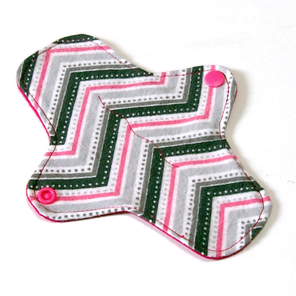 7 inch Reusable Cloth winged ULTRATHIN Pantyliner - Pink Chevron Cotton Flannel Fabric