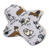 7 inch Reusable Cloth winged ULTRATHIN Pantyliner - Dog Breeds Cotton Flannel Top