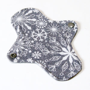 7 inch Reusable Cloth winged ULTRATHIN Pantyliner - Grey Snowflake Cotton Flannel Top
