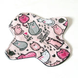 6 inch Reusable Cloth winged ULTRATHIN Pantyliner - Cotton Flannel Fabric - Pink Kitty