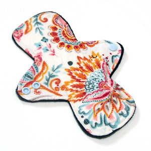 "8"" Light Flow Cloth Menstrual Pad -  Windpro  - Cotton Flannel - Paisley Floral"