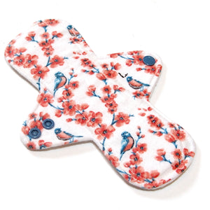"8"" Light Flow Cloth Menstrual Pad -  Heavy Fleece  - Cotton Flannel - Birds and Blossoms"