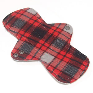 "9"" Moderate Flow Cloth Menstrual Pad -  PUL  - Cotton Flannel - Red Plaid"