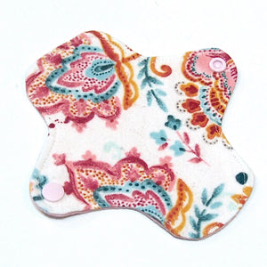 6 inch Reusable Cloth winged ULTRATHIN Pantyliner - Paisley Floral Cotton Flannel Fabric