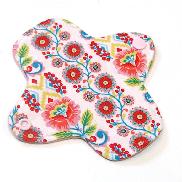 6 inch Reusable Cloth winged ULTRATHIN Pantyliner - Quilter's Cotton Fabric - Ribbon Blooms