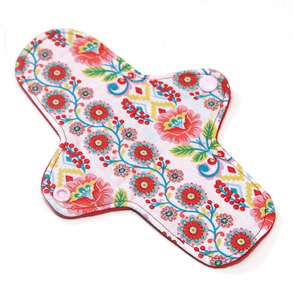 8 inch Reusable Cloth winged ULTRATHIN Pantyliner - Ribbon Blooms Quilter's Cotton Top