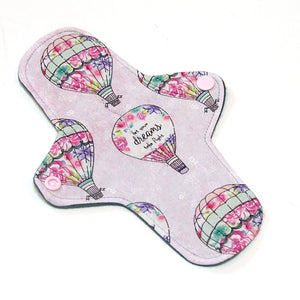 8 inch Reusable Cloth winged ULTRATHIN Pantyliner -Dream Balloons Quilter's Cotton Top