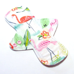 "8"" Moderate Flow Cloth Menstrual Pad -  PUL  - Quilter's Cotton top - Flamingos"