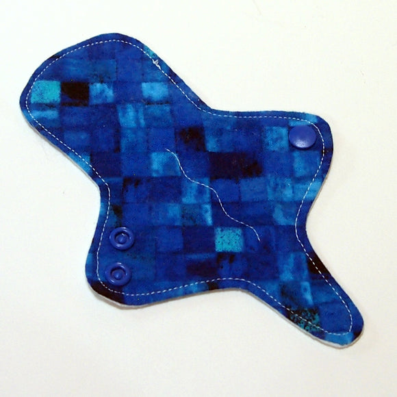 ULTRATHIN Reusable Cloth Pad 6 inch Adjustable Thong liner - Watercolor Blue - Cotton flannel top
