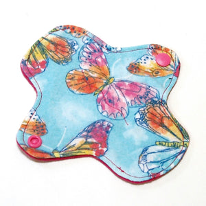 6 inch Reusable Cloth winged ULTRATHIN Pantyliner - Cotton Flannel Fabric - Butterfly Sky