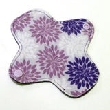 6 inch Reusable Cloth winged ULTRATHIN Pantyliner - Cotton Flannel Fabric - Purple Mums