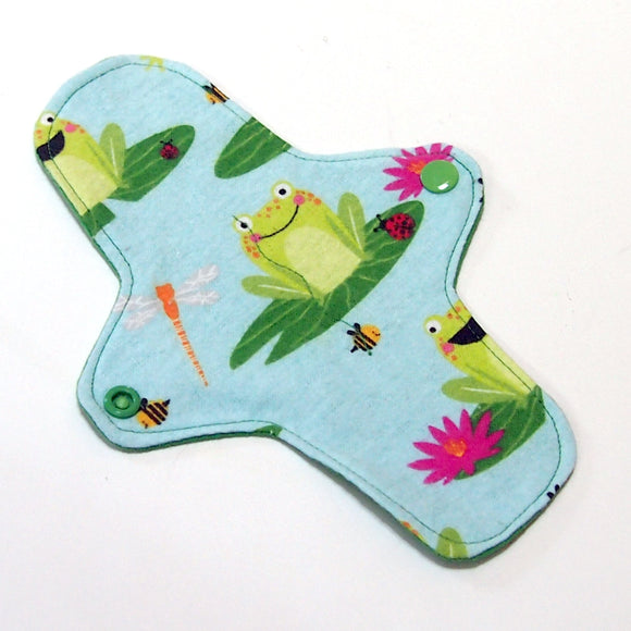 8 inch Reusable Cloth winged ULTRATHIN Pantyliner - Leap Frog Cotton Flannel