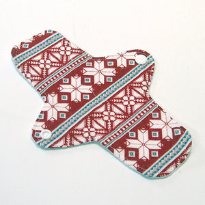 8 inch Reusable Cloth winged ULTRATHIN Pantyliner - Red Fair Isle Cotton Flannel