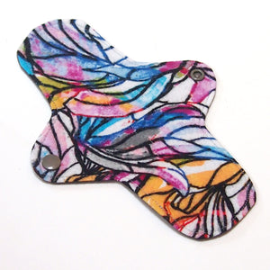 8 inch Reusable Cloth winged ULTRATHIN Pantyliner - Stained Glass Cotton Flannel
